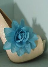 2 Blue Glitter Flower Clips for Shoes