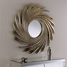 Silver Swirl Sunburst Wall Mirror Modern Large 3ft Round Modern Contemporary