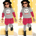 Toddler Kids Baby Girls Outfits Clothes Long Sleeve T-shirt Dress+Pants 3PCS Set