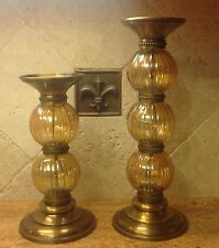 Lot 2 BOMBAY COMPANY Amber Hand Blown Glass Antique Bronze Pillar Candle Holder