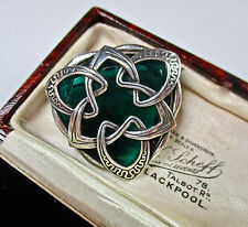 SIGNED MIRACLE SCOTTISH GREEN RHINESTONE CELTIC BROOCH/PIN