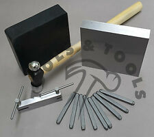 Metal Stamping Starter Kit Number Stamps Hammer Rubber & Steel Block Hole Punch