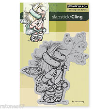 New Penny Black FAIRY STARDUST Cling Rubber Stamp Christmas Girl Snow Winter