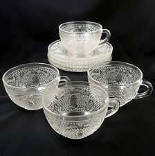 Federal Glass HERITAGE ~ Clear ~ Set of 4 ~ Cup & Saucers