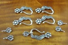 Lot of 5 Flower Sterling Silver 925 Two Piece CLASPS Findings Repair or Making
