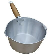 Small Heavy Duty Aluminium Milk Cooking Sauce Pan Pot Wooden Handle (UK Made)