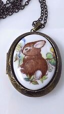 Vintage Bunny Rabbit Cameo Locket Pendant Chain Necklace Porcelain Bronze Tone