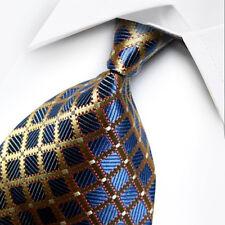 UK1075 Blue Gold Plaids New 100%Silk Classic JACQUARD Woven Men's Tie Necktie