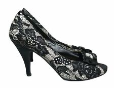 KALEIDOSCOPE Shoes Size 5 Peep Toe Court Shoes Black & White Net Floral