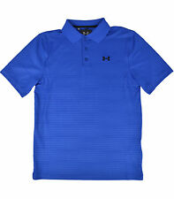 UNDER ARMOUR MENS ROYAL BLUE STRIPED LOOSE FIT PERFORMANCE GOLF POLO SHIRT SMALL
