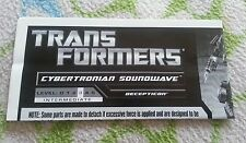 Transformers CYBERTRONIAN SOUNDWAVE INSTRUCTION BOOKLET ONLY AUTHENTIC