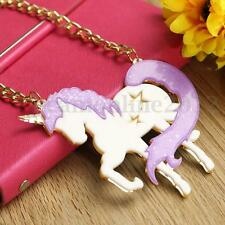 Cute Unicorn Acrylic Horse Pendant Necklace Kawaii Fashion Girl Women Gifts New