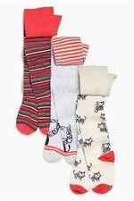 BNWT Next Girls Red Cat And Stripe Tights Three Pack 1.5-2 Years 18-24 BNWT