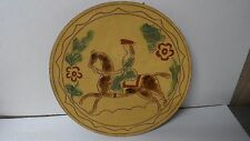 Large ERIN KETTENLUG REDWARE POTTERY PLATE - LADY RIDING HORSE