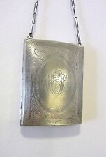Antique Engraved Sterling Silver Compact Change Purse with Coins
