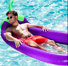Swimming Pool Giant Inflatable Eggplant Float Toy Summer Swim Ring Water Raft
