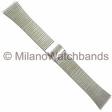 18mm Milano Matte Silver Tone Center Adjustable Clasp Stainless Watch Band