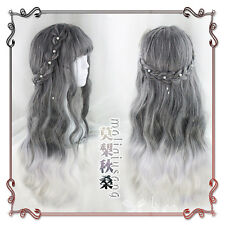 Japanese Harajuku Gothic Sweet Lolita Gray Gradient Fairy Curly Cosplay Long Wig