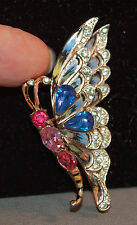 RARE Coro Craft Sterling Rhinestone Embedded Enameled Vintage Butterfly Brooch!
