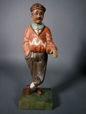 VINTAGE ARTISTIC HAND-CARVED WOOD GOLFER IN SCOTTISH ATTIRE NO GOLF CLUB