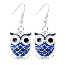 Fashion Lady Silver Tone Blue Black Owl Shape Dangle Hooking Earrings Gift