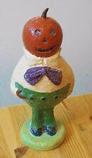 Vintage Primitive Style Halloween Glitter Pumpkin Man Paper Mache