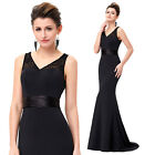 ST New Brand Sleeveless V-Neck Ball Gown Evening Prom Party Dress UK Size 4-18