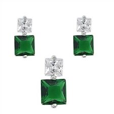 Silver Sets with Cubic Zirconia Emerald CZ Pendant Height 14 mm Emerald Clear