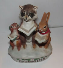 Ski Country Christmas Carol Animal Racoon Squirrel Bunny Singing EMPTY Decanter