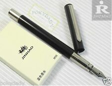 Pirre Paul's F101 Fountain Pen BLACK slim barrel F nib 5 JINHAO cartridges BLUE