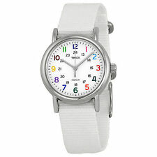 "Timex T2N837, Women's ""Weekender"" White Fabric Strap Watch, Indiglo, T2N8379J"