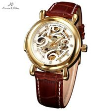 KS Mens Stylish Royal Carving Gold Case White Dial Skeleton Leather Wrist Watch