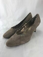 Van Eli Women's Pegaso Tan Truffle Suede Scalloped Pump size 12 $130 ns11/28