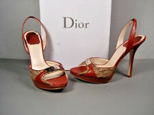 DIOR BROWN DIORISSIMO LOGO CANVAS LEATHER PLATFORM SANDALS CLASSIC HEEL 37/7 NEW