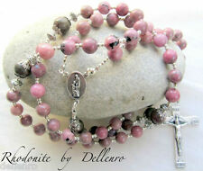 ✫RHODONITE✫ BEAUTIFUL HANDCRAFTED GEMSTONE ROSARY (Boxed)