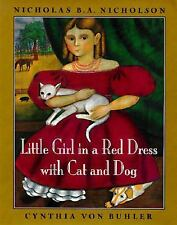 Little Girl in a Red Dress with Cat and Dog-ExLibrary