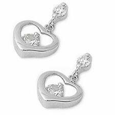 CZ Hollow Heart Dangle .925 Sterling Silver Earring