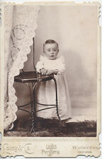 WATERLOO, INDIANA, BRIGHT-EYED LITTLE GIRL IN DRESS + POSING STOOL CABINET CARD