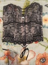 $98 Victorias Secret Very Sexy Lace Up Embroidered Corset Bustier Medium NWOT