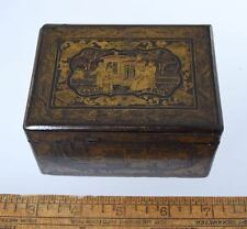 "Small ANTIQUE CHINESE EXPORT LACQUERED TRINKET BOX w/FIGURES 4"" X 3"" X 2.25"""