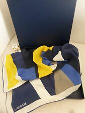 BNWT Lacoste Blue Yellow White Pattern 100% Silk Square Scarf