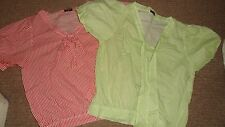 Bundle of 2 striped cotton tops by Sugar (M) green/red