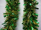 6 Green & Gold Tinsel Christmas Decorations Tree 9cmx2m K