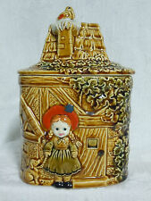 VINTAGE RED HOOD GIRL & DOG COTTAGE LITTLE HOUSE COOKIE JAR from JAPAN