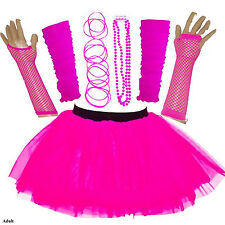 Adulti Donna ANNI'80 FANCY DRESS Neon UV Tutu Gon na Set Gallina Accessori Rosa