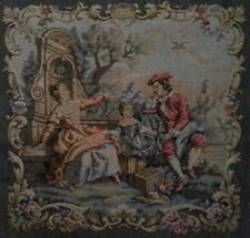 Vintage Woven Floral Court Scene Man Lady Child Tapestry France