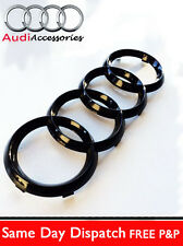 AUDI GLOSS BLACK FRONT RINGS BADGE EMBLEMS BONNET A6 A7 A4 A5 A8