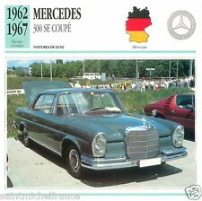 MERCEDES 300 SE COUPE 1963 1967 CAR VOITURE GERMANY CARD FICHE