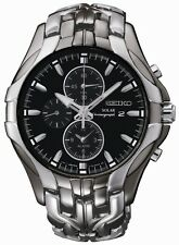 New Seiko SSC139 Solar Alarm Black Ion Plated Chronograph Stainless Men's Watch