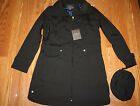 NWT Womens COLE HAAN Black Packable Rain Jacket Trench Coat W/ Hood Size S Small